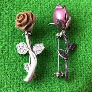 Jewelry - 2 JEZ sterling silver rose flower pin mothers day